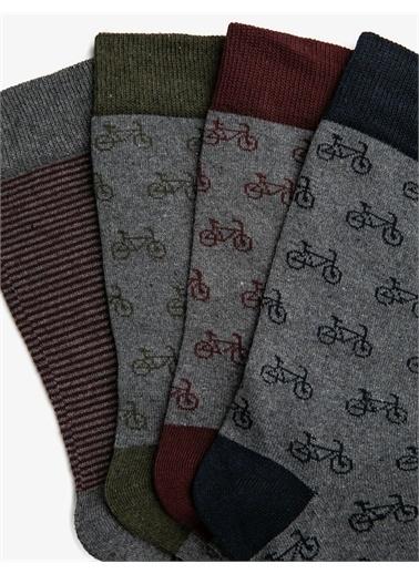 Koton Erkek 4'lü Desenli Çorap Seti Bordo